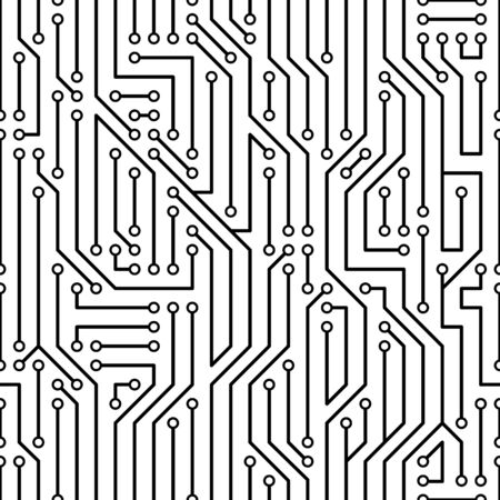 Simple black vector abstract circuit board pattern