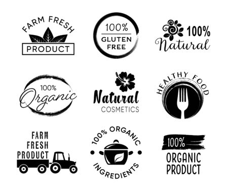 Vektor-Etiketten für gesunde Lebensmittel und Bio-Produkte Vektorgrafik