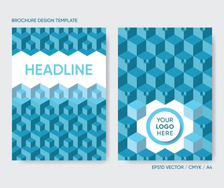 Vector brochure cover design template with 3D cubes Ilustrace