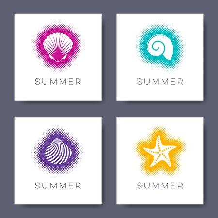 Minimalist vector summer cards with seashells halftone design