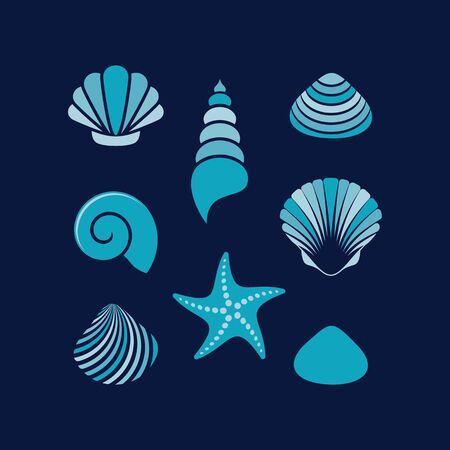 Simple colourful vector sea shells and starfish