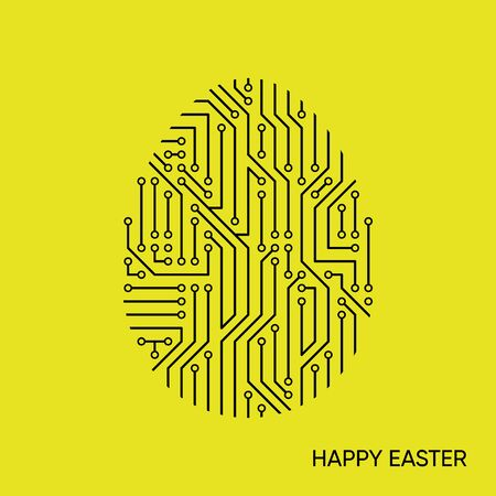 Vector happy easter card circuit board pattern