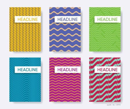 Modern abstract vector wavy line brochure covers