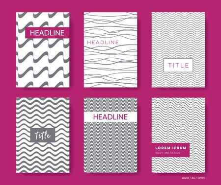 Elegant abstract vector wavy line brochure cover templates