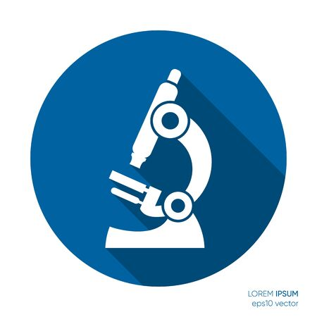 White vector microscope icon science and medicine symbol Illustration