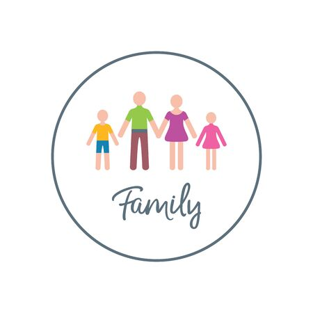 Vector family logotype design template with two children Illustration