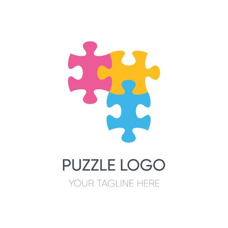Simple vector puzzle logotype design isolated on white Logo