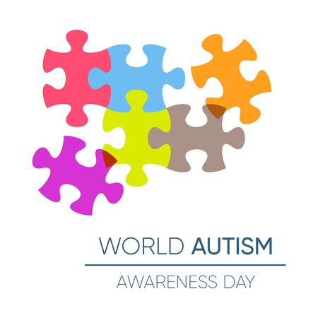 World autism awareness day design with puzzle pieces Illustration