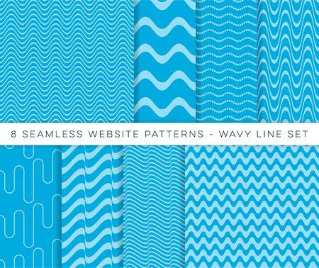 Blue vector seamless website wavy line patterns Vetores