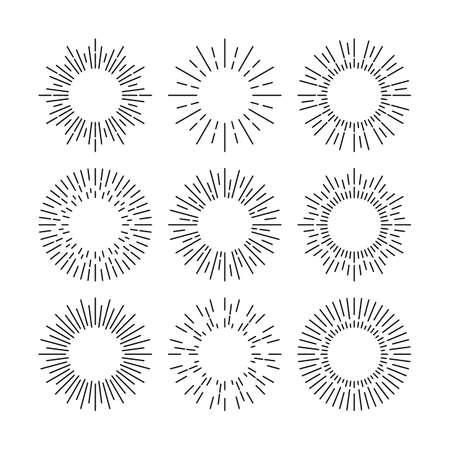 Thin line black vector sunburst design elements Vektorgrafik