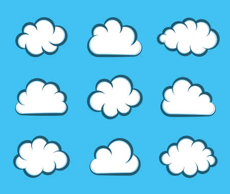 White vector cartoon clouds on blue background