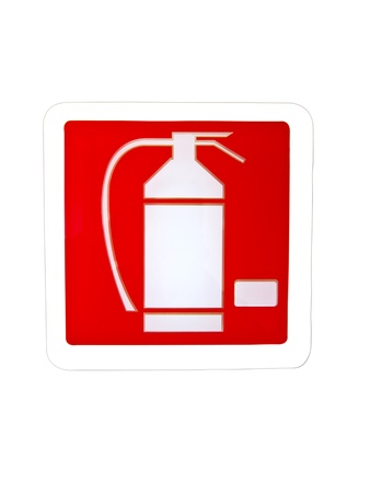 fire extinguisher sign isolated on white photo