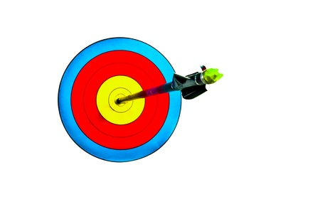 Arrow piercing the center of an archery target photo