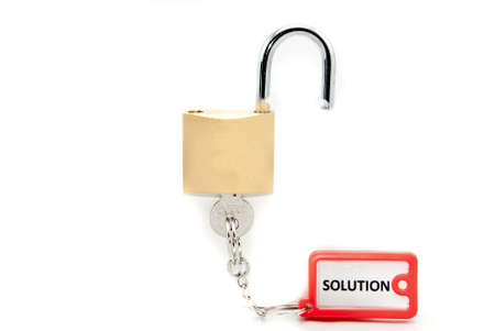 The only key that keeps unlocked and opens the problems lock Stock Photo