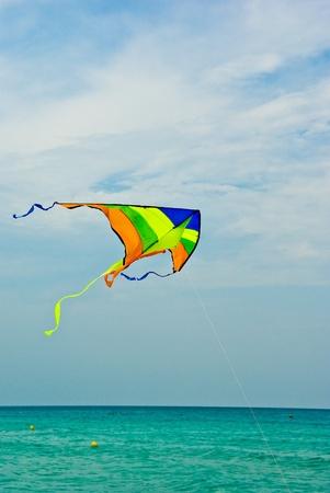 Colorful �t� kiteflying sur la mer calme bleu