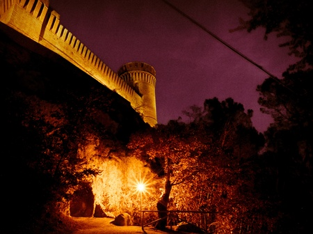 ramparts: Nightscene Castle Ramparts And Walkway illuminated by a bright lamppost under trees.