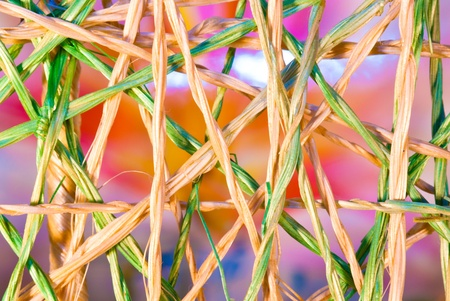 Intertwined Weave Of Raffia strands twisted together in natural colour and green . Stock Photo