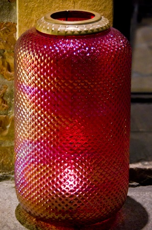 Antique Cranberry Glass Shade, the colour results from infusing gold chloride which is expensive and therefore sort after by collectors. photo