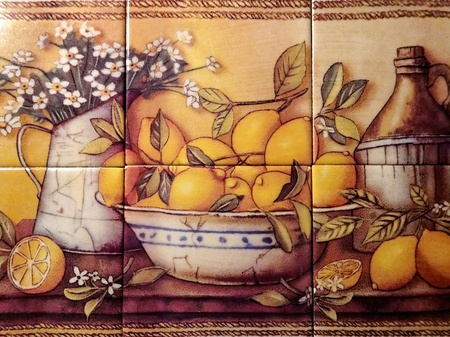 Tile Still Life Of Lemons, collage of six wall tiles depicting lemons in a bowl with jug of flowers.