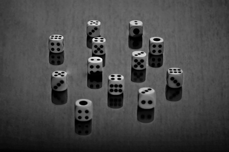 Black and white dice shot