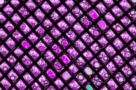 Abstract background of repetitive iridescent pink rectangles with bubble patterns in a brown diagonal grid Stock Photo - 13034598