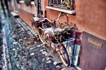 Old bicycle parked alongside a painted wall in cobbled street photo