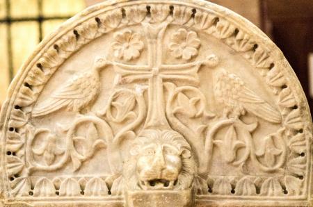 ravenna: stone detail shot in S apollinare church,Ravenna Italy