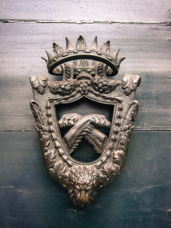 surmounted: Old coat of arms with the head of a lion below realistic crossed paws in the central shield surmounted by a crown
