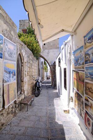 Lyndos city street detail,Rhodes Greece Editorial
