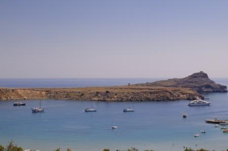 Lyndos Bay, l'�le de Rhodes, en Gr�ce