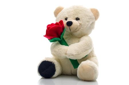 oso de peluche: Suave peluche de felpa de juguete oso agarrando una sola rosa roja en sus brazos para un aniversario o celebración de San Valentín