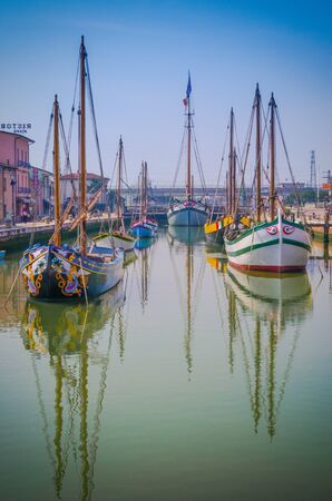 Pretty decorative looking boats docked at Cesenatico, italy