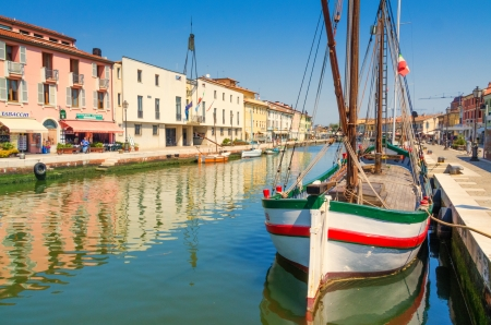 Riverside shot in Cesenatico, Italy Stock Photo