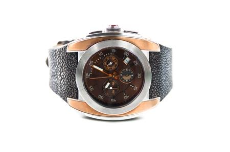 bezel: Luxury mens wristwatch isolated on white