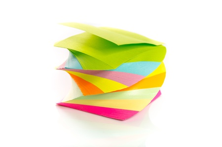 notelet: Pile of colorful post-it notes stacked on a spiral isolated on white background Stock Photo
