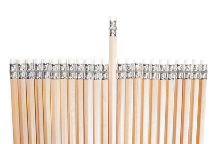Brand New Pencils with Aligned One in Different Having Height White Erasers, Isolated on White Background.
