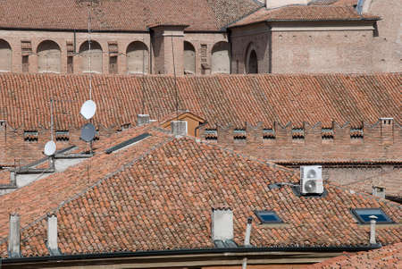 castle conditioning: Panorama with historical roof and satellite dish and antenna TV