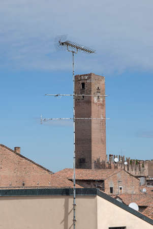 superintendence: Panorama with historical tower and antenna TV Stock Photo