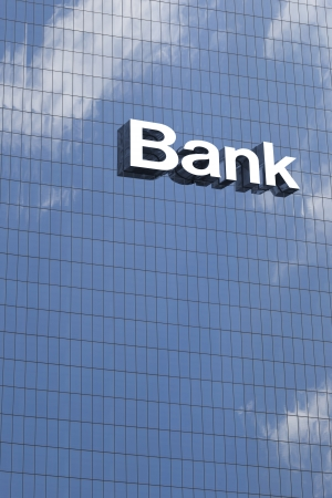 bank building: Bank sign on the modern building close up