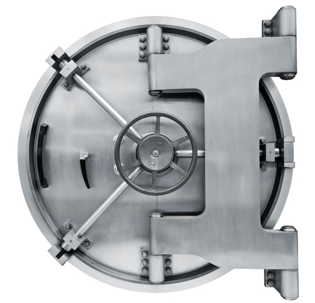 secure: The metallic  Bank vault door on a white background isolated on white with clipping path