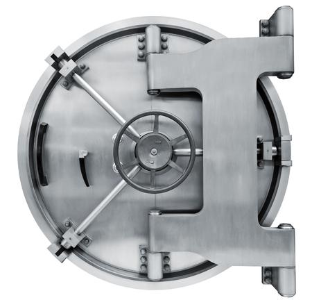 De metalen Bank kluis deur op een witte achtergrond geà ¯ soleerd op wit met clipping path
