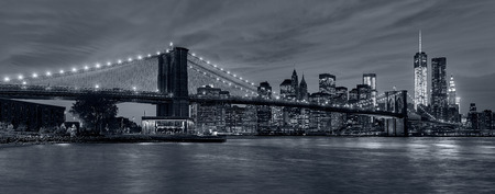 tonality: Panoramic view New York City downtown skyline at night and Manhattan Bridge in blue tonality