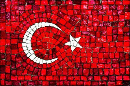 Old mosaic flag of Turkey close up Stock Photo