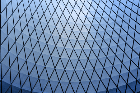architecture blue glass ceiling inside contemporary business hallway Stock Photo