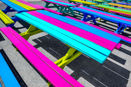 Colorful benches in the beach park area