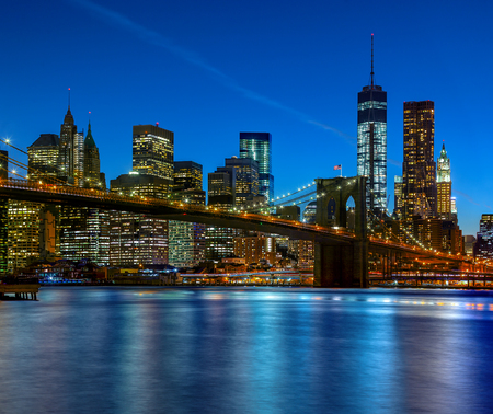 Panoramic view New York City Manhattan downtown skyline at night with skyscrapers Stock Photo