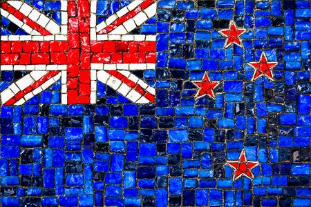 Old mosaic flag of  new zeland close up