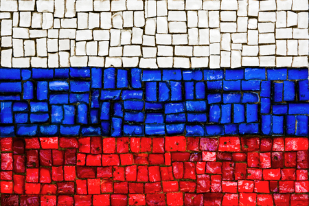 accord: Old mosaic flag of Russia close up Stock Photo