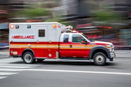ambulance on emergency car in motion blur Reklamní fotografie