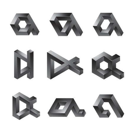 Conjunto de formas abstractas 3D - una letra minúscula
